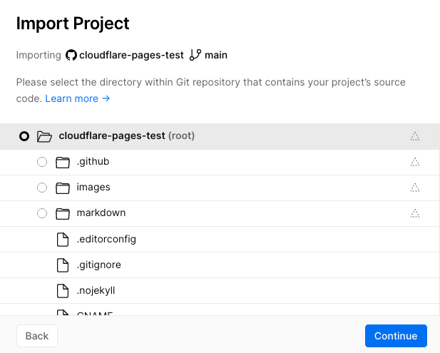 Select project direcotry inside repo